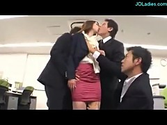 Secretary Getting Her Tits Rubbed Licked Fingered Sucking Cocks Fucked By 3 Guys In The Office