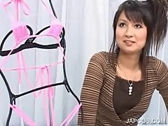 Japanese showing sexy body in lingerie