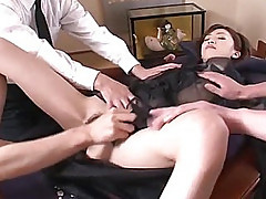 Sexy secretary Kanon Hanai used as the main focus of a Japanese business meeting