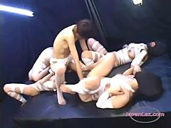 4 Slave Girls In Mask Fisted By Mistress In The Dungeon