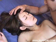 Miku masaki asian model gets a hot gangbang and analized