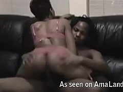 Living Room Sex With A Horny Ebony Couple