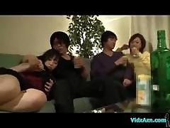 2 Drunken Asian Girls Kissing Sucking Their Boyfriends In The Sitting Room