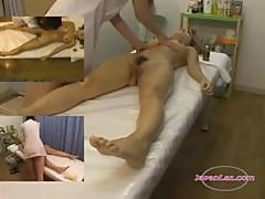 Asian Girl Massaged Getting Her Tits Rubbed Hairy Pussy Fingered By The Masseuse On The Massage Bed