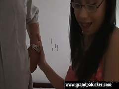 Nerdy asian sucks repairman