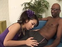 Horny Babe Marika Eats Two Black Cocks