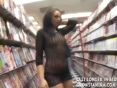 Video store hardcore threesome with sluts