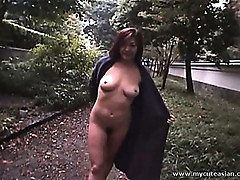 Horny Asian blowjob and cumshot outdoors