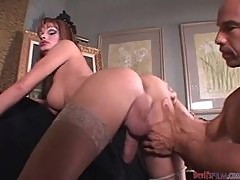 Hot tranny Ashante gets her dick sucked and her ass pounded