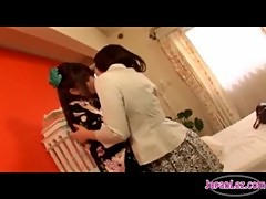 Asian Girl In Kimono Kissing Passionately Rubbing Other Girl Small Tits Sucking Her Nipples In The R