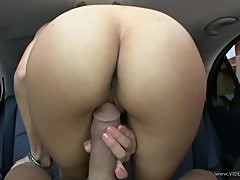 Blowjob and Cock Riding In the Car In POV Vid By Hot Asian Jackie Lin