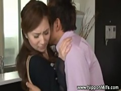 Asian mature milf gets hot and horny