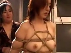 Girl In Rope Bondage Hanging Getting Her Pussy..