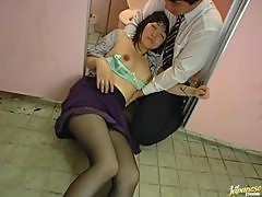 Nasty Japanese drunk chick gets fucked in the toilet