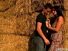Erika And Karol Have Hardcore Sex On Top Of A Hay Stack