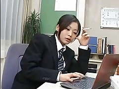 Asian slut sucks rod