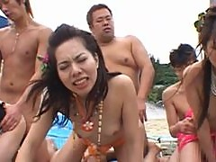 Sexy Asian Babes Get Fucked and Facialized in a Wild Outdoor Orgy