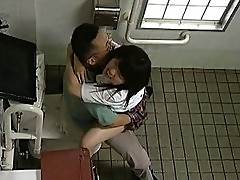 Japanese AV Model gets fucked in a public bathroom by random guy