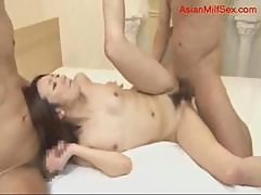 Milf With Tiny Tits Sucking Cocks Hairy Pussy Fucked By 2 Guys On The Bed