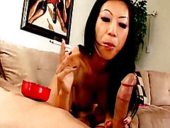 Naughty Asian bitch Tia Ling smokes and gives head