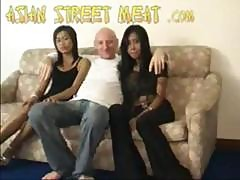 2 Asian Girl Take 1 White Cock 3some