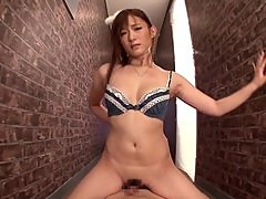 Akie Harada gives a blowjob and a handjob and gets a mouthful